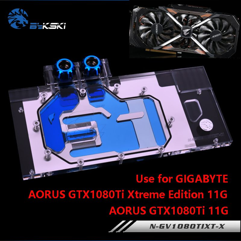 BYKSKI Water Block use for GIGABYTE AORUS GTX 1080Ti Xtreme Edition/GV-N108TAORUS-11GD/Full Cover Graphics Card Copper Radiator