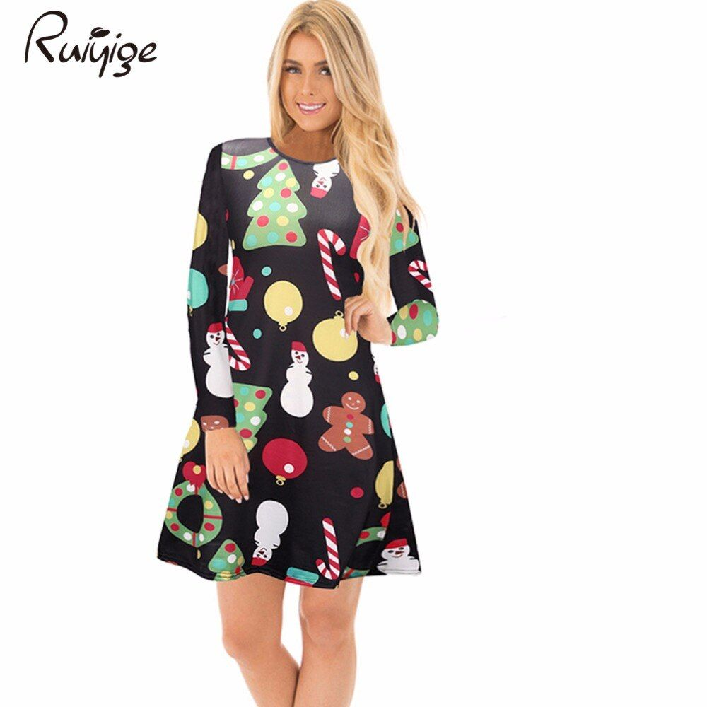Ruiyige 2017 Autumn Womens Dresses Feminino Casual Full Sleeve O-Neck Stretch Christmas Print Xmas Santa Party Vestidos De Festa