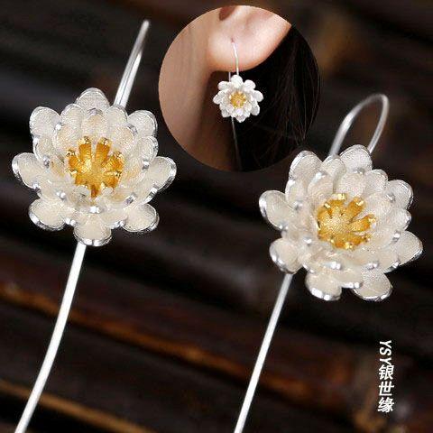 925 trefilado de plata pura hechos a mano de loto pendientes femeninos elegante fresco pendiente del perno prisionero del pendiente de la vendimia nacional