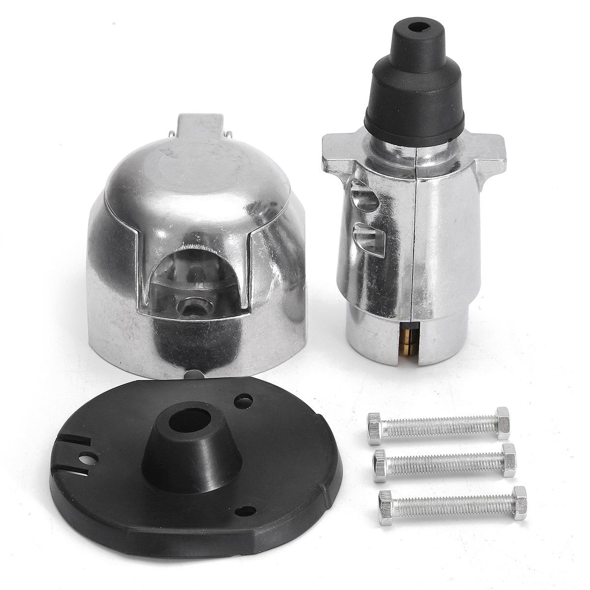 12N 7 pin Metal Towing Plug & Socket Connector Kit for Towbar Caravan Traile
