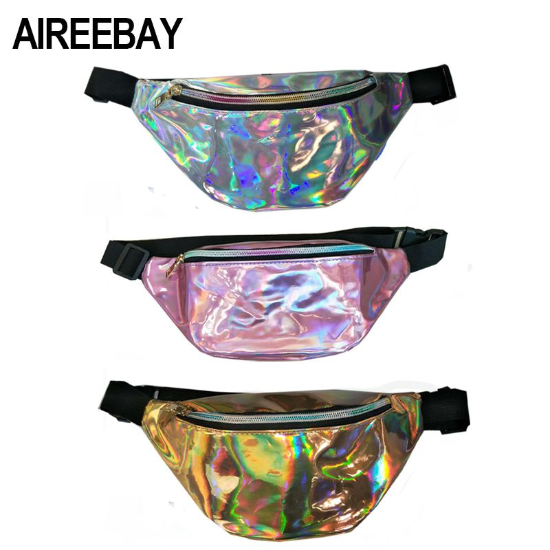 AIREEBAY 2018 New Holographic Fanny Pack Women Laser Bum Bag Travel Beach Shiny Female Waist Bags Fashion Hologram Hip Bags