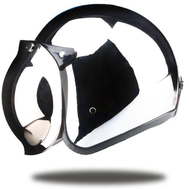 Brands vintage motorcycle helmet jet capacetes de motociclista harley sliver chrome vespa cascos para moto cafe racer mirror