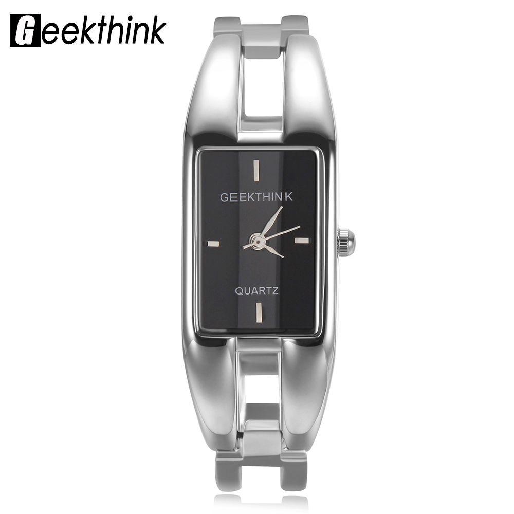 Geekthink Элитный бренд кварцевые часы Для женщин прямоугольник из нержавеющей стали лентой женский часы браслет леди Повседневное наручные ча...