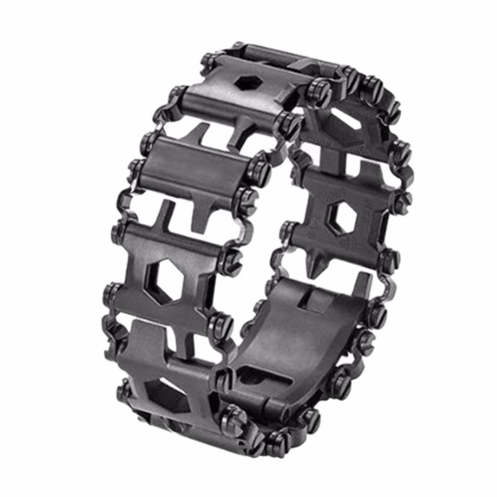 29 EN 1 En Acier Inoxydable Multi Outil Bracelets Camping Randonnée Multi-fonction Bracelet Noir Tournevis Trousse D'urgence En Plein Air