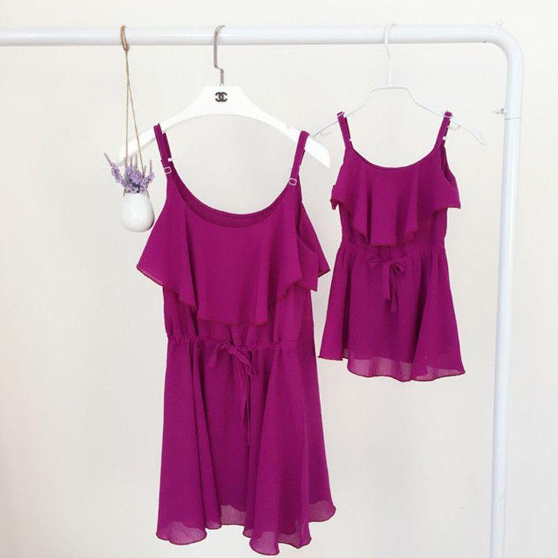 2017 мать и дочка платья летняя одежда для маленьких девочек шифоновое платье для всей семьи платье для мамы и дочки одежда для мамы и меня