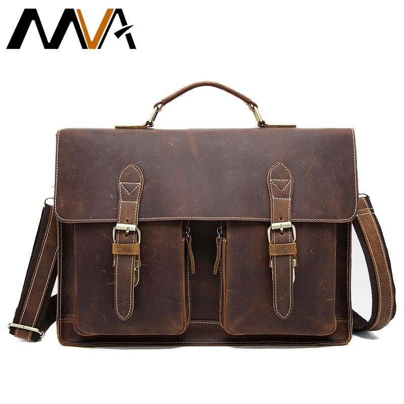 MVA Crazy Horse Leather Briefcases for Document Totes Messenger Bag Men Shoulder Bags Business Men Briefcase Laptop bag 9033