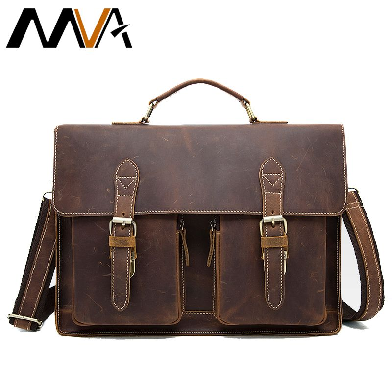 MVA Crazy Horse Leather Briefcases for Document Totes Messenger Bag Men Shoulder Bags Business Men Briefcase Laptop bag 9033