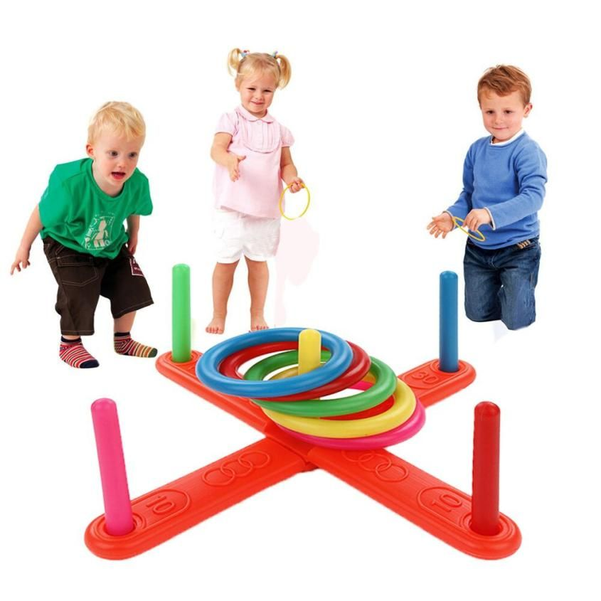 Hoop Ring Toss Plastic Ring Toss Quoits Garden Game Pool Toy Outdoor Fun Set NEW AR Toy Drop shipping Y727