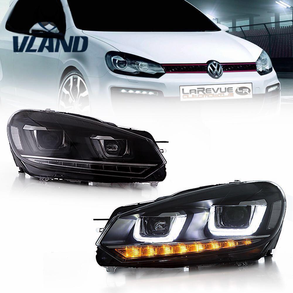 VLAND Factory For Car Headlight for Golf 6 For Mk6 Head light R20 LED Head Lamp DRL Moving Signal H7 D2H HID Bi Xenon