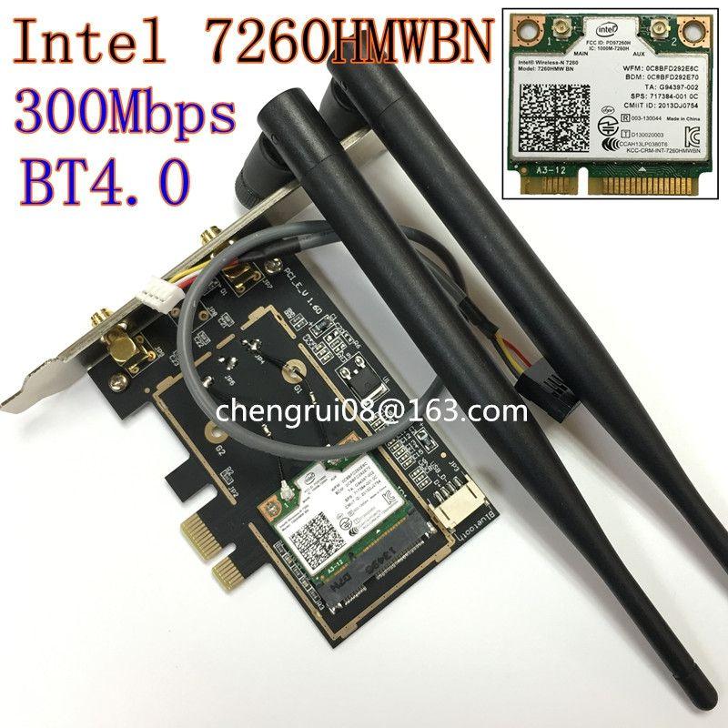 Настольных WiFi Intel Беспроводной-n 7260 7260hmw BN 300 м Половина Mini pci-e Bluetooth BT Беспроводной Wi-Fi карты 802.11 B G N 2.4 ГГц