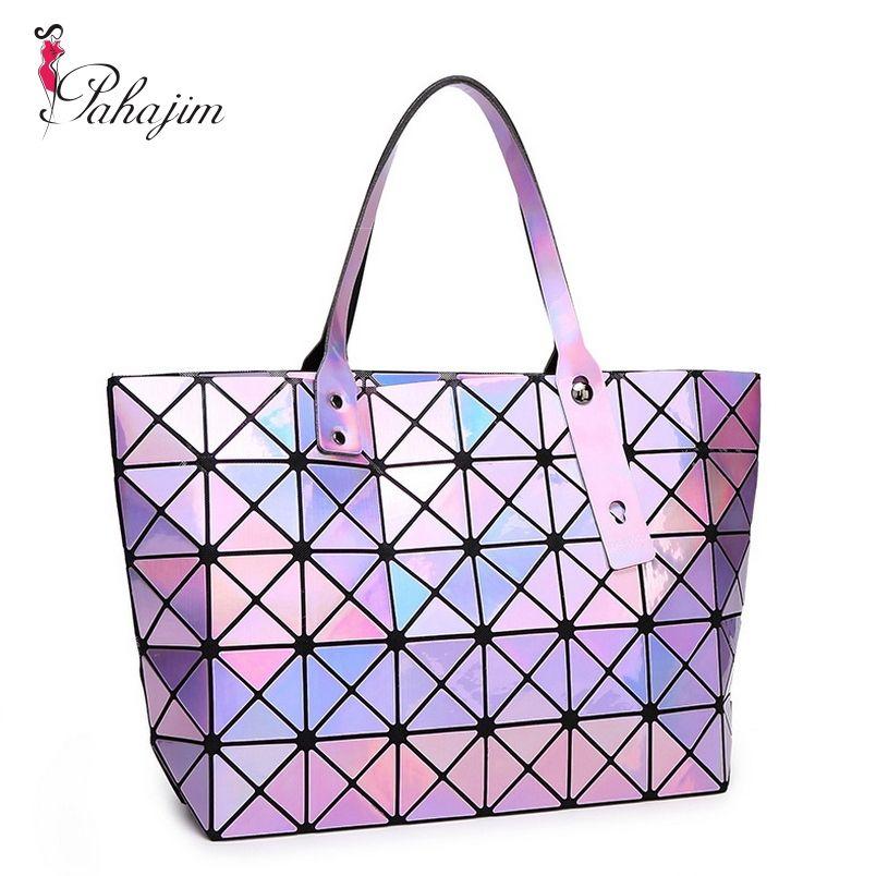 Pahajim Laser Women Plaid Tote Casual Bags Female Fashion Fold Over Handbags Lady Sequins Bag