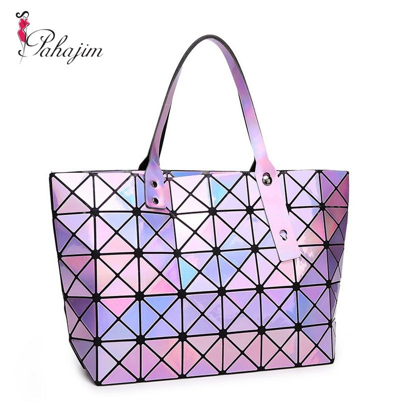 Pahajim Laser Women Plaid Tote Casual Bags Female Fashion Fold Over Handbags Lady Sequins Bag