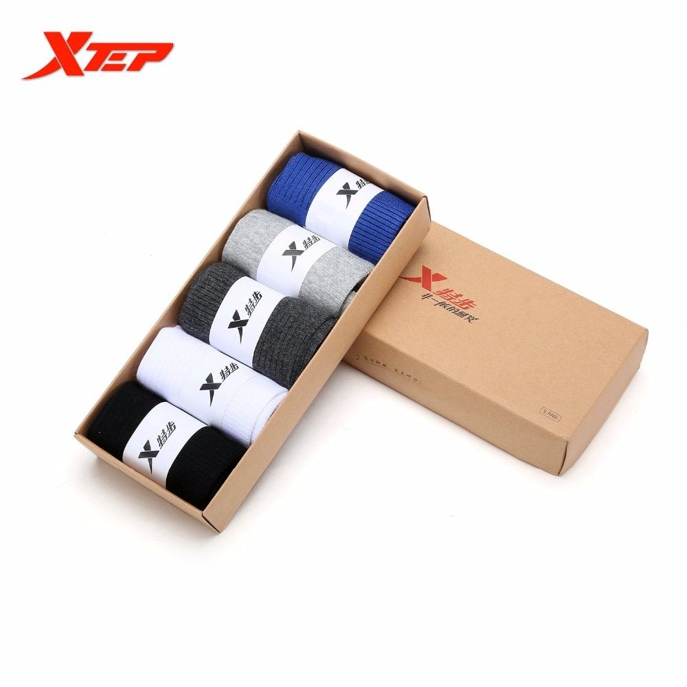 XTEP Brand Men 5 Pairs\Set Cotton Sock Classic Basic Comfortable Breathable sport  Basketball running Cycling Socks 883339559009