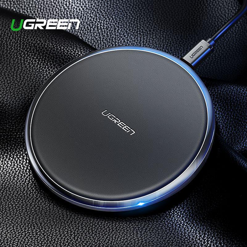 Ugreen Leder Drahtlose Ladegerät Für iPhone Xs Max XR X 8 10 W Schnelle Wirless Wireless Charging Pad Für Samsung xiaomi MIX 3 Ladegerät