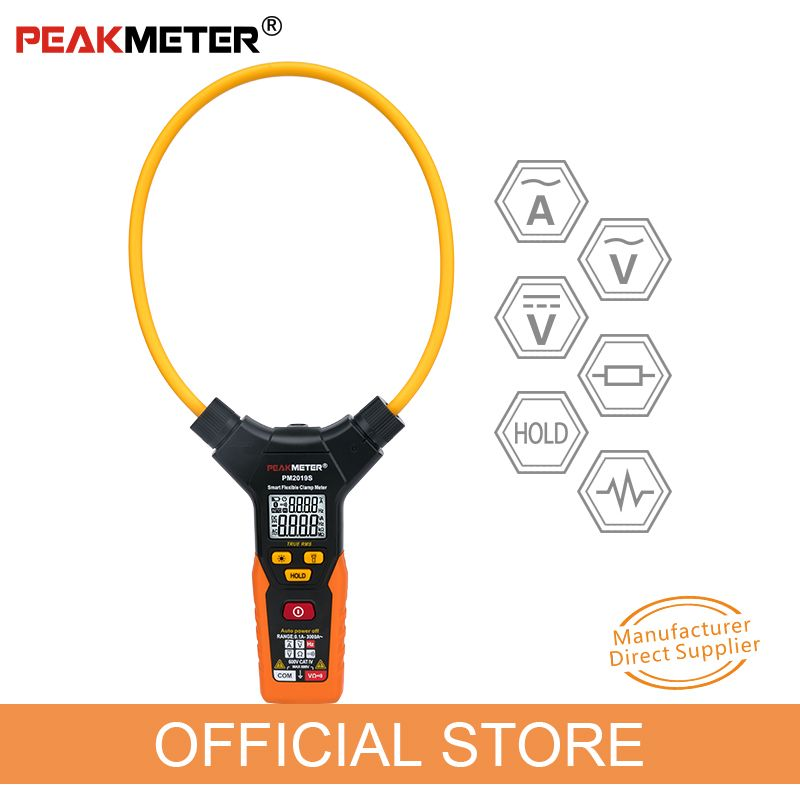 OFFICIAL PEAKMETER PM2019S Smart AC Digital Flexible Clamp Meter Multimeter Handheld Voltage Current Resistance Frequency