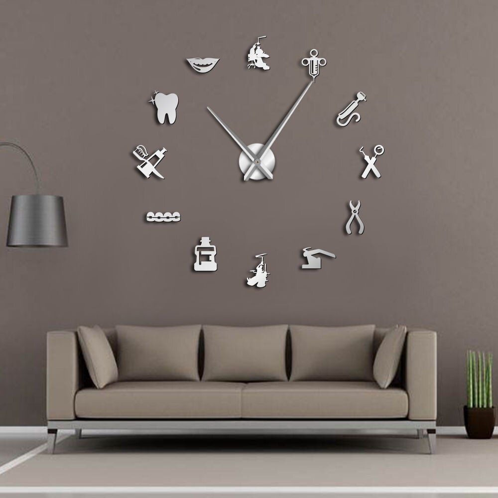 Dentist DIY Giant Wall Clock Dental Doctor Oversized Wall Clock Big Needle Mirror Dentist Office Decor Dentist Gift Doctor Art