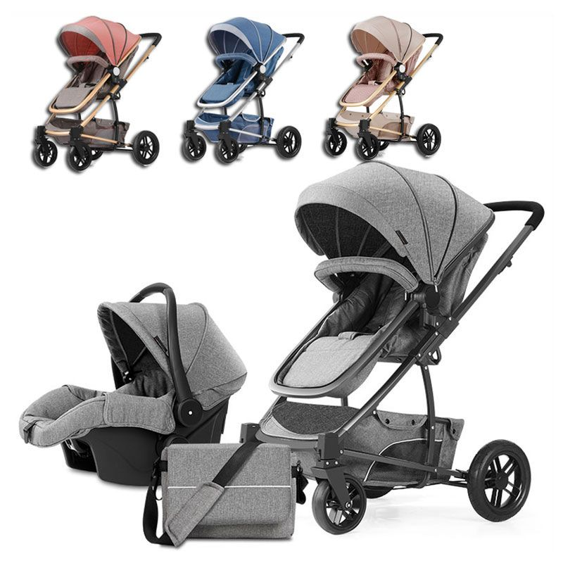Luxury High View Baby Four Wheels Jogging Baby Stroller 3 In 1 Travel System Newborn Pram Sleeping Bassinet Multiple Stroller