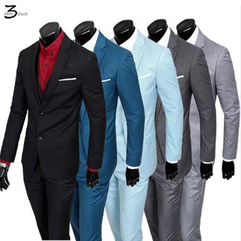 (Veste + Pantalon + Gilet) 2016 Hommes Costumes Marque d'affaires Blazers Veste Formelle Robe Hommes Costume Ensemble Mâle mariage Marié Smokings trois-pièce