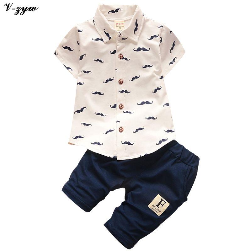 2017 D'été de Bébé Garçons Vêtements Costumes Gentleman Style Enfants Belle Barbe Chemise + Pantalon 2 Pcs Maternelle Costumes Occasionnels Enfants ensembles
