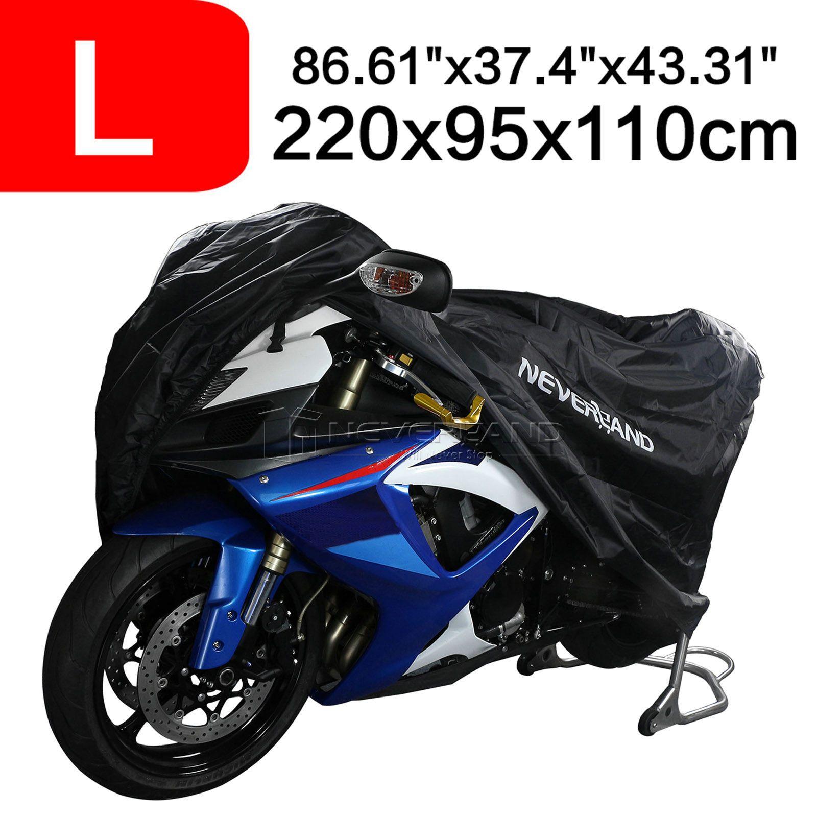 NEVERLAND Black Motorbike Polyester Taffeta Motorcycle Covers L Dust Waterproof Outdoor Rain UV Protector UV Cover D10