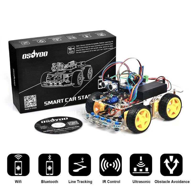 Robot intelligent De Voiture Kit pour Arduino UNO R3 4WD Bluetooth IR Ligne Suivi BRICOLAGE Voiture ensemble + Manuel D'utilisation + Vidéo pour enfants OSOYOO