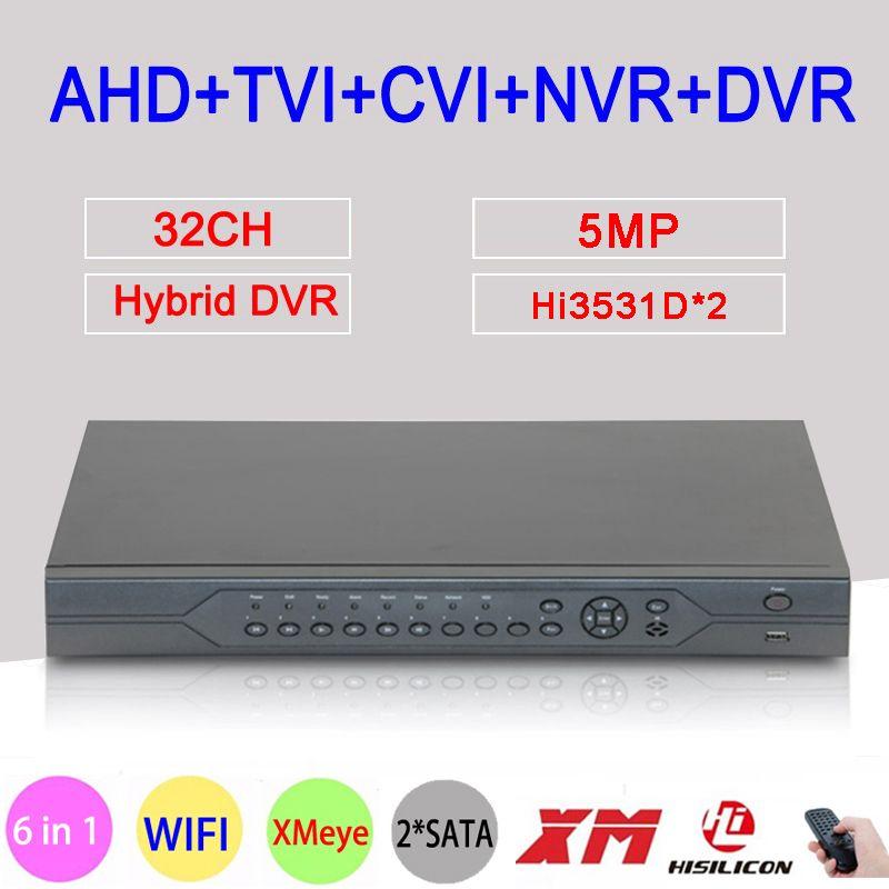 5MP, 4MP, 1080 P, 960 P, 720 P, 960H Überwachung Kamera Hi3531D 32CH 32 Kanal 6 in 1 Koaxial Hybrid NVR CVI TVI AHD DVR Freies Verschiffen