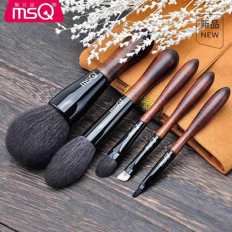 Professionelle MSQ 5 stücke Hohe Qualität Tier haar Make-Up Pinsel Set Pulver Make-Up Pinsel Werkzeuge Augenbraue Pinsel Wolle Lidschatten Pinsel