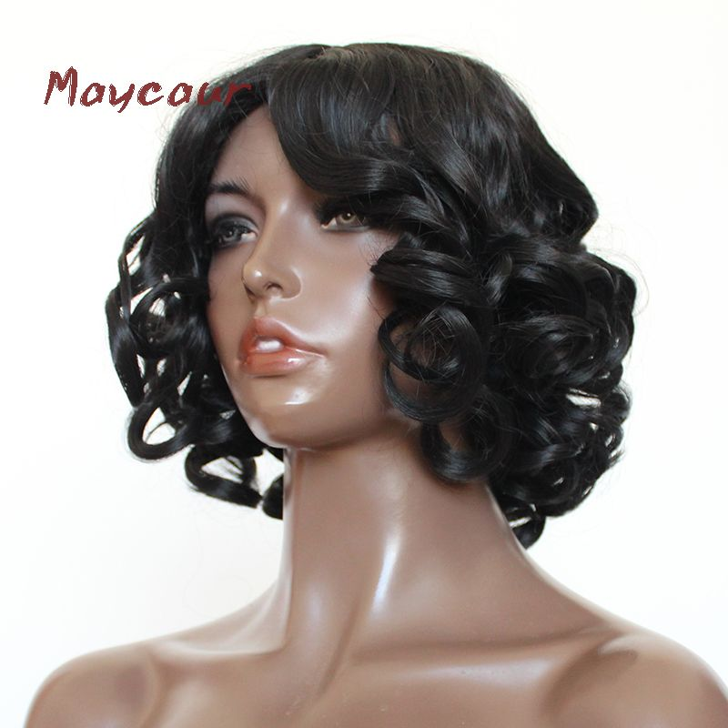 Maycaur 16Inch Short Wave Wigs Heat Resistant Synthetic Hair Bob Wigs for Women
