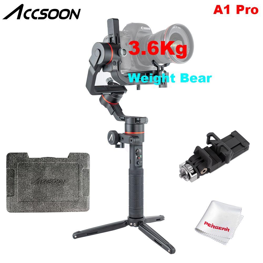 Accsoon A1 Pro Drahtlose Bild Übertragung 3-Achse Handheld Gimbal Stabilisator 3,6Kg Nutzlast für DSLR PK Zhiyun Weebill labor Crane3