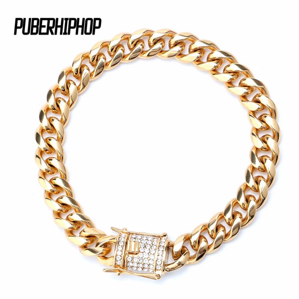 TUHE Men's Hip Hop Iced Out Gold Miami Cuban Link 10mm Micro CZ Rhinestone Miami Cuban Link Bracelet For Men Jewelry Box Clash