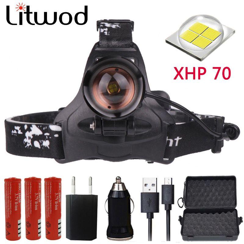 Z22 Litwod 2806 32W chip XHP70 Headlight 32000lum powerful Led headlamp zoom Head light head lamp flashlight torch Lantern