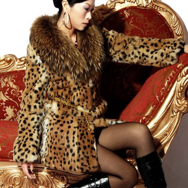 Big Promotion Hot Fashion New Women Natural Real leopard color rabbit fur coat long with genuine raccoon fur collar femme jacket