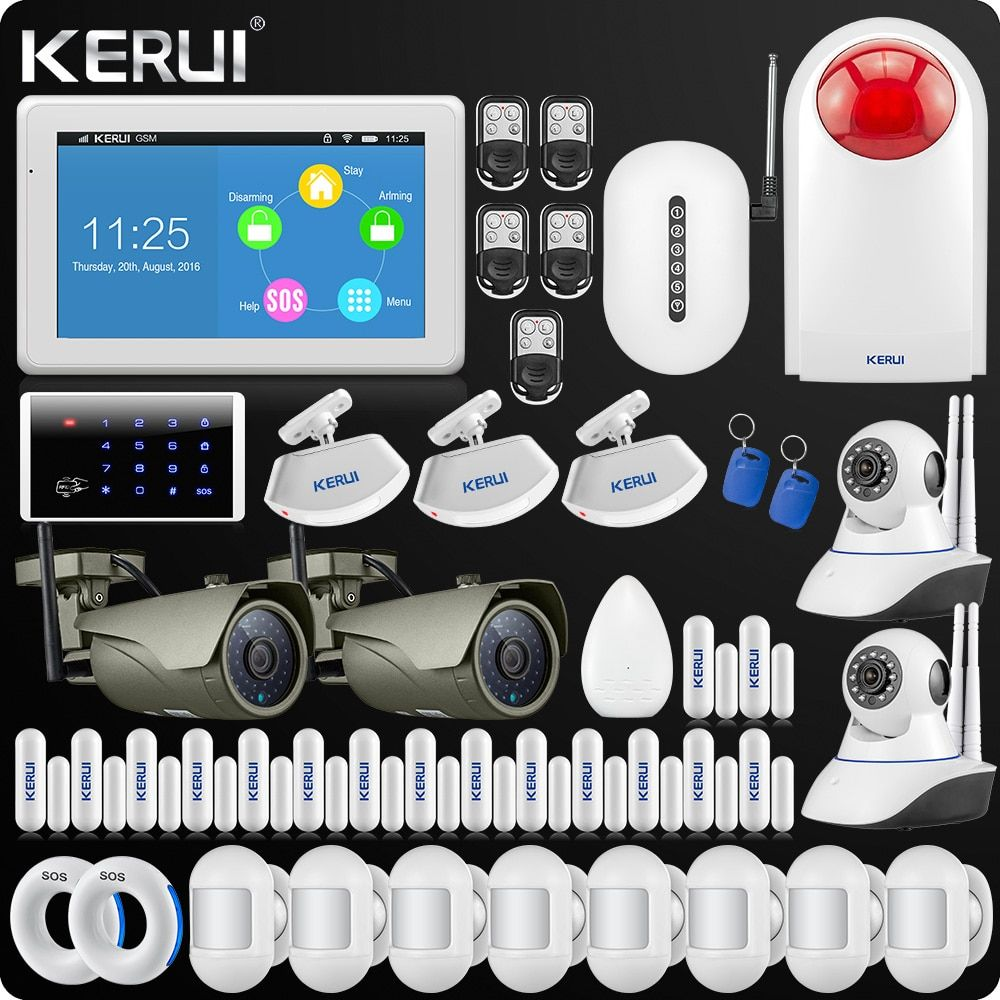 KERUI 7 Inch TFT Display Touch Screen WIFI GSM Alarm System Home Alarm Security Wifi IP Outdoor Camera Singal Repeater Portable