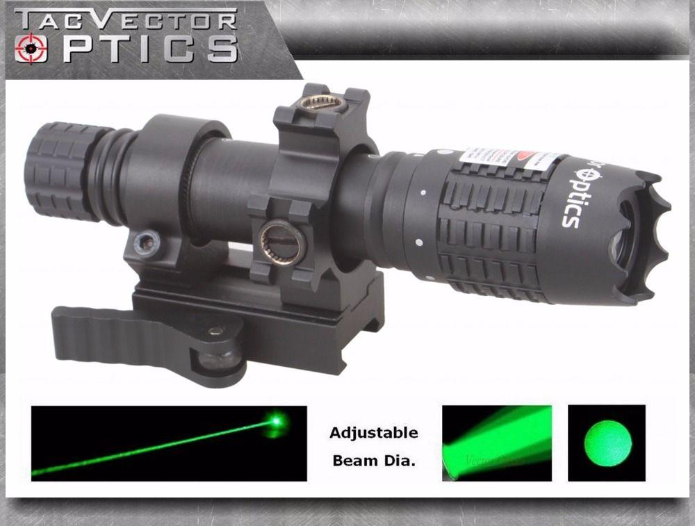 Vector Optics Magnus Green Laser Flashlight Designator Adjustable Beam Focus Sight with Scope Mount Ring fit Night Vision