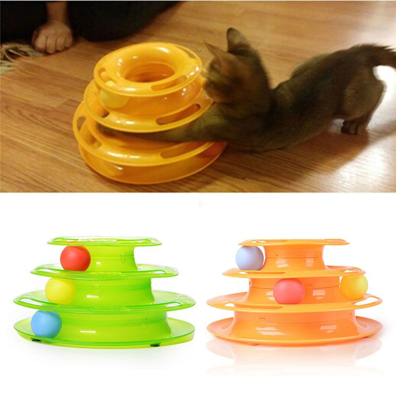 Plastique trois niveaux tour pistes Chat Jouet Amusement étagère jouer Station cataire Gatos Jouet Chat Katten Speelgoed