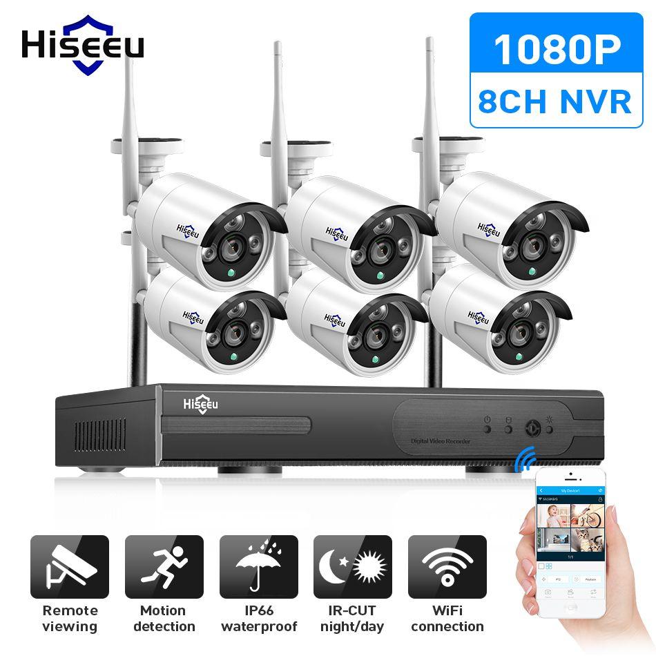 8CH wireless CCTV Camera System 6pcs 960P/1080P wifi IP camera outdoor home security video surveillance system NVR kit  Hiseeu