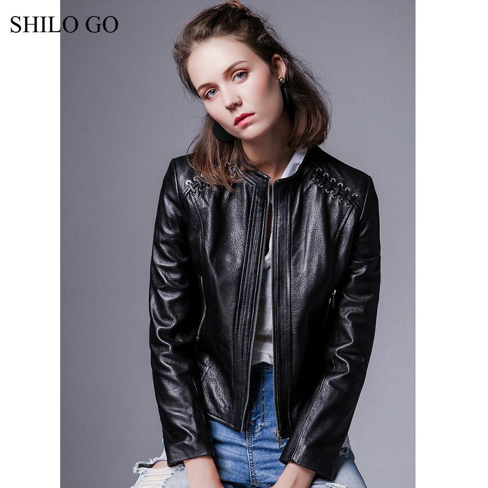 SHILO GO Leather Jacket Autumn Fashion sheepskin genuine leather Jacket O Neck rivet adjustable shouler front zipper black coat