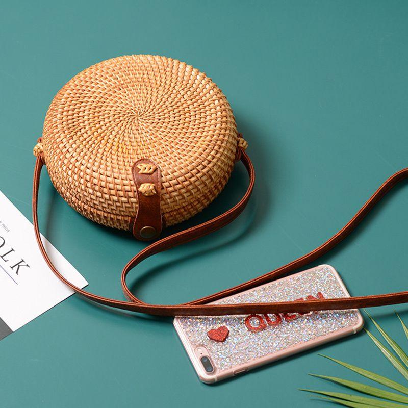 Carré rond Mulit Style sac de paille sacs à main femmes été sac en rotin à la main tissé plage cercle bohême sac à main nouvelle mode