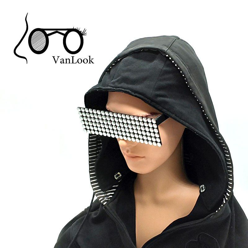 Sun Glasses Deal With It Points One Piece Rectangle Sunglasses <font><b>Gold</b></font> Checker Bar