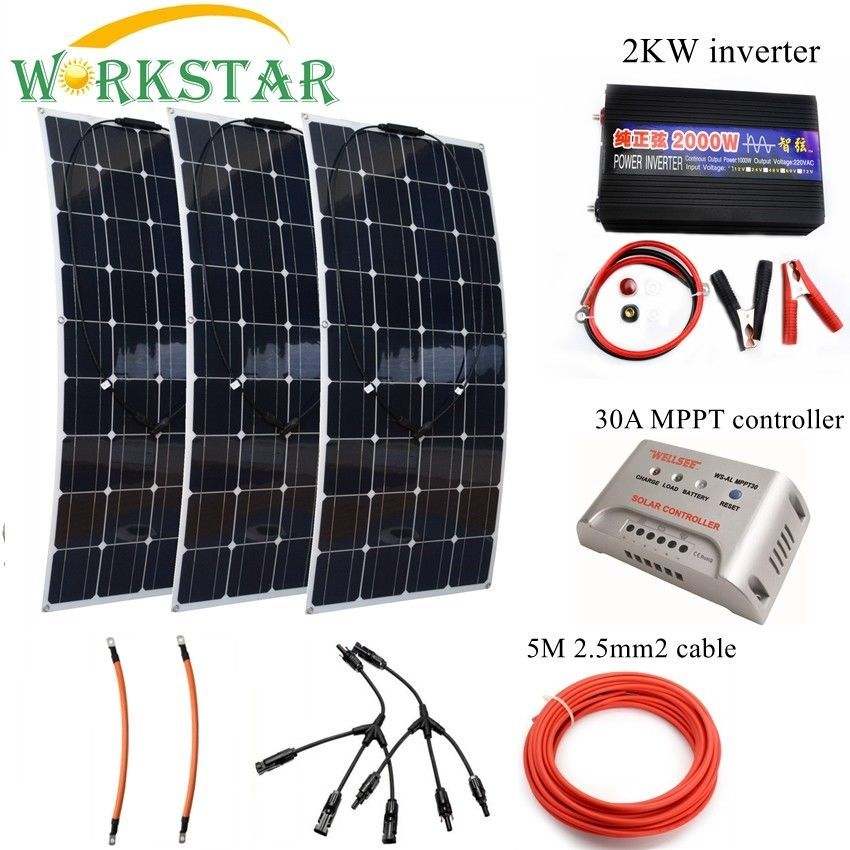 300W Solar System Kit for Beginner 3*100w Flexible Solar Panel Modules with 2000w Inverter and MPPT 30A Controller