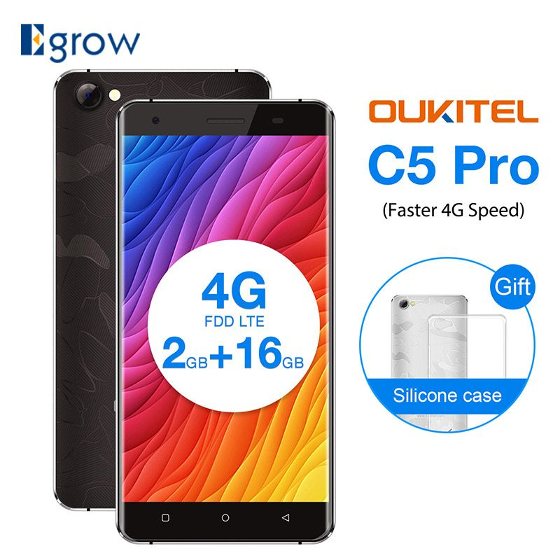 <font><b>OUKITEL</b></font> C5 PRO 4G Smartphone Android 6.0 MTK6737 Quad-core 1.3GHz 2GB+16GB 5.0MP 5.0inch HD 720*1280px Dual SIM Mobile Phone