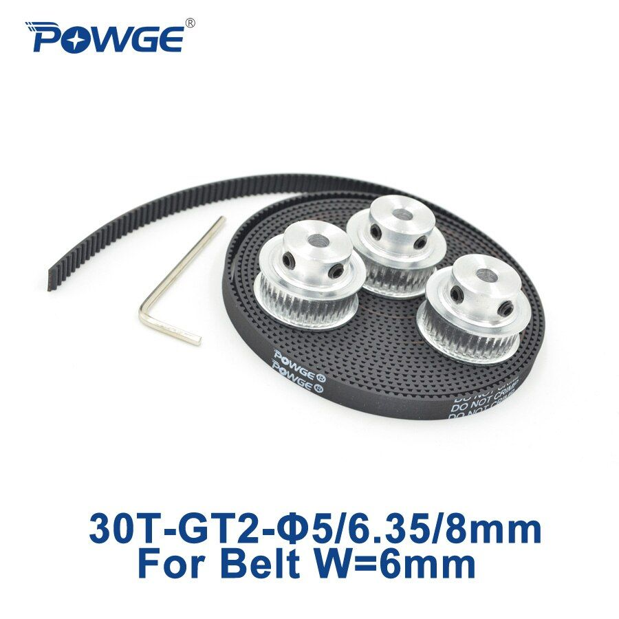 POWGE 3pcs 30 teeth GT2 Timing Pulley Bore 5mm 6.35mm 8mm + 3Meters width 6mm GT2 Synchronous Belt 2GT pulley 30Teeth 30T