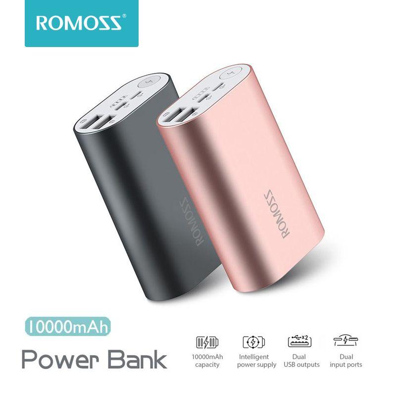 ROMOSS ACE A10 10000 mAh batterie externe double USB sorties en alliage d'aluminium batterie externe pour iPhone 7 7plus tablettes Smartphone