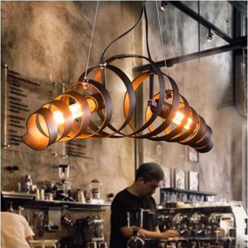 LukLoy Retro Vintage Wine Barrel Ring Pendant Lights Industrial Lustres Pendant Lamp E26 E27 Restaurant suspension luminaire
