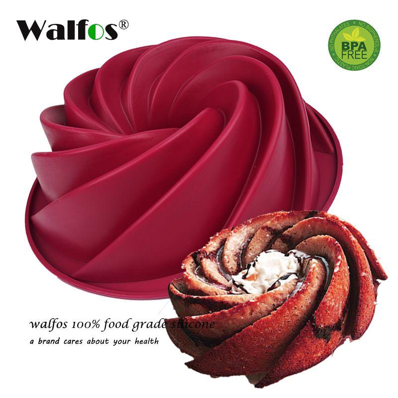 WALFOS qualité alimentaire 25*9 cm grand tourbillon forme Silicone gâteau au beurre moule cuisson forme outils pour gâteau moule boulangerie cuisson plat ustensiles de cuisson