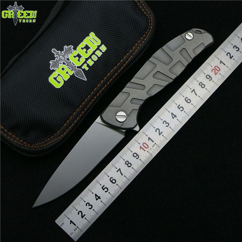 Green thorn Flipper 95 D2 steel blade T mode Titanium handle outdoor camping hunting pocket kitchen fruit folding knife EDC tool