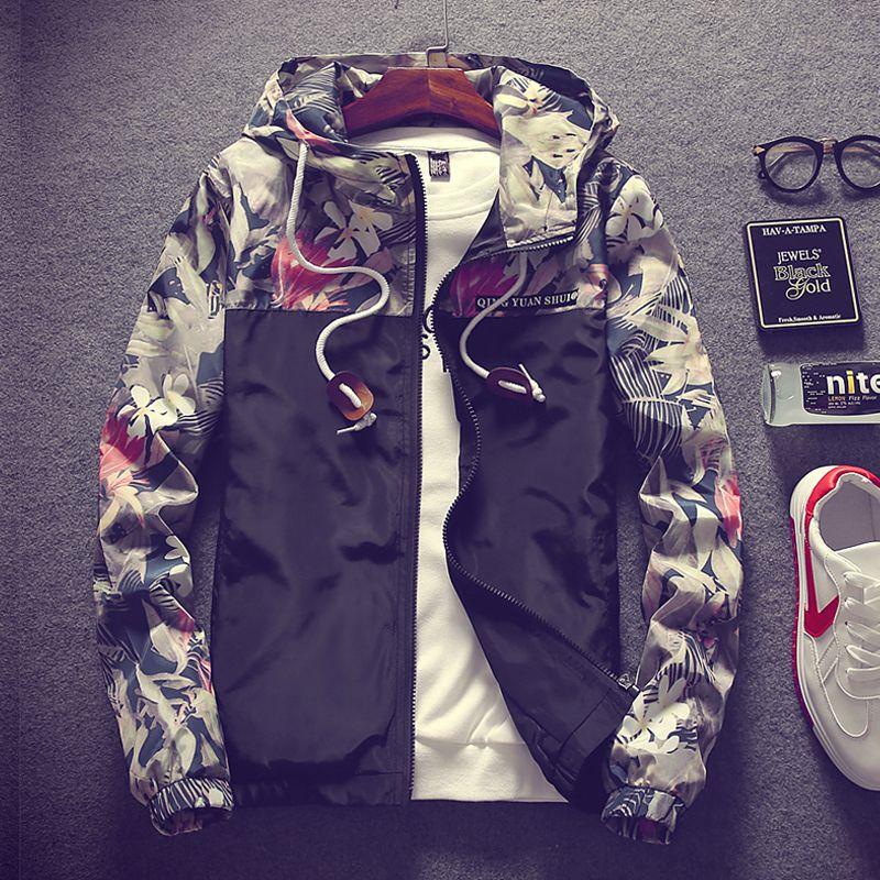 Цветочный Курточка бомбер Для мужчин хип-хоп Slim Fit цветы пилот Курточка бомбер пальто Для мужчин; куртка с капюшоном плюс Размеры 4xl