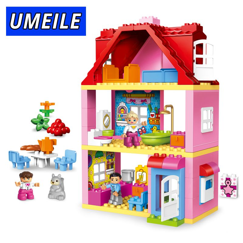 UMEILE Brand Duplo Friends Pink <font><b>City</b></font> Girl Princess Figure Family House Colourful Kids Building Block Educational Baby Toys Gift