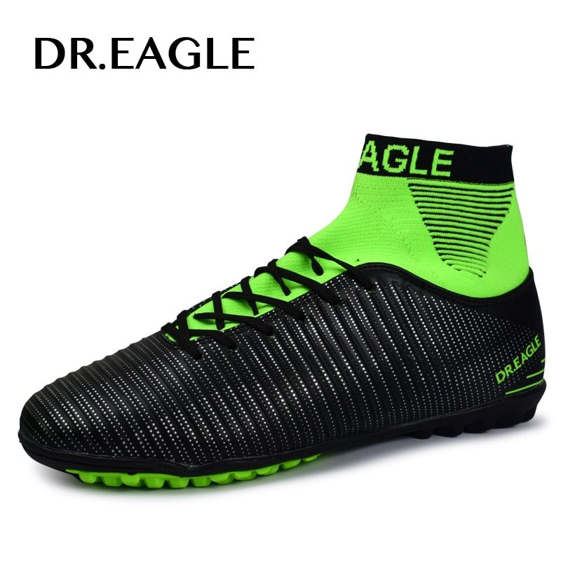 DR.EAGLE TF/ turf Indoor high ankle soccer cleats football shoes futsal Footballs Sock with shoes football BOOTS sneakers