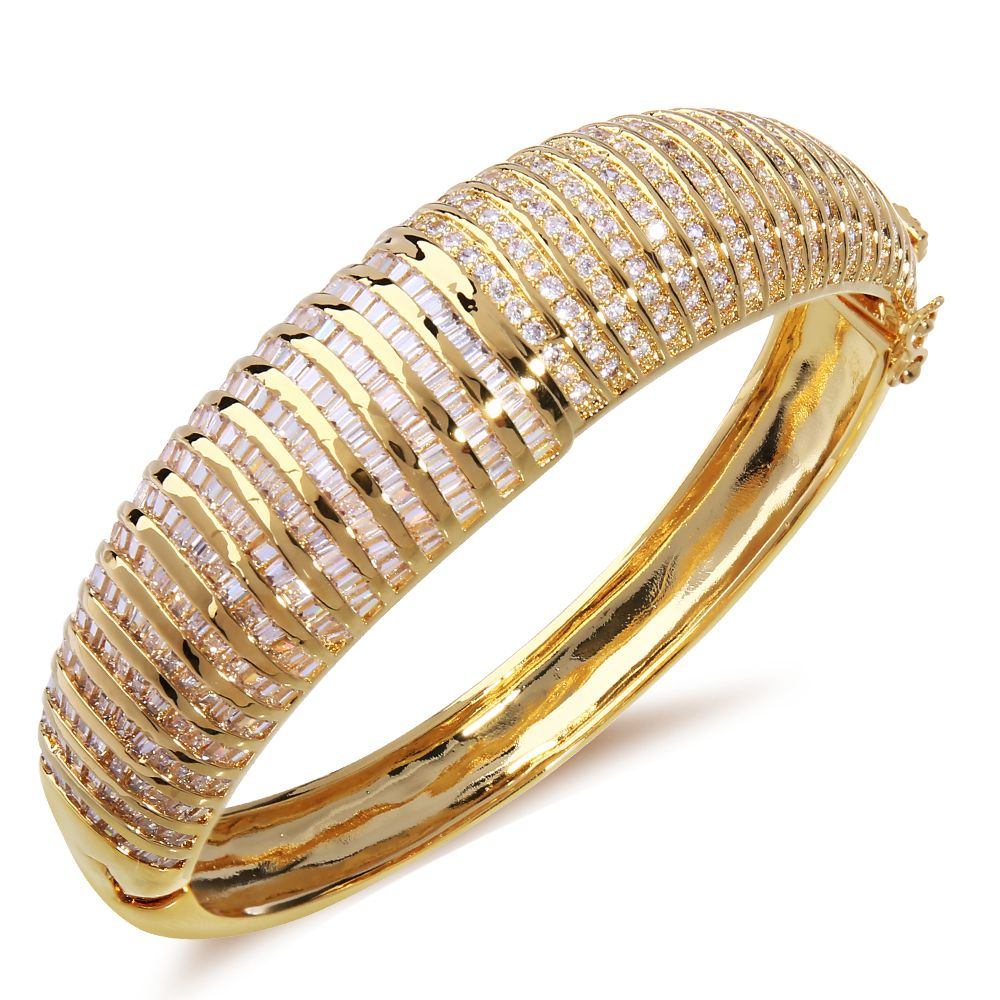 Top Quality Classic Cuff New Women Bridal Accessories Channel setting Cubic Zirconia Brass jewelry Gold-color Statement Bangle